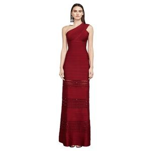 Herve Leger Red one shoulder cut out gown
